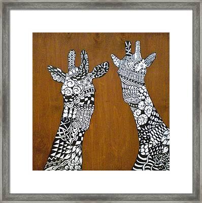 Giraffe Zen Framed Print by Debi Starr