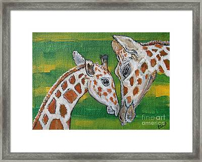 Giraffes Artwork - Learning And Loving Framed Print