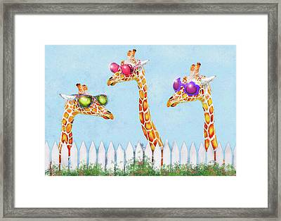 Framed Print featuring the digital art Giraffes In Sunglasses by Jane Schnetlage