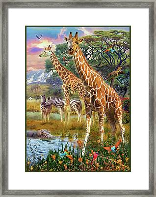 Framed Print featuring the drawing Giraffes by Jan Patrik Krasny