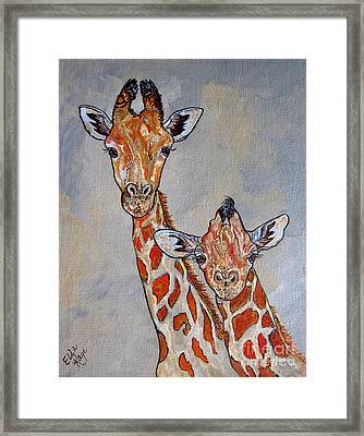 Giraffes - Standing Side By Side Framed Print by Ella Kaye Dickey
