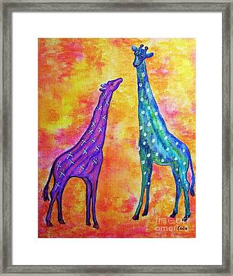 Giraffes With X's And O's Framed Print
