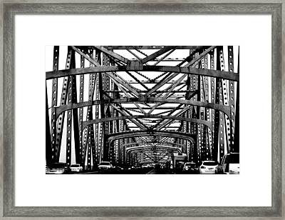 Girders Over The Mississippi In Black And White Framed Print