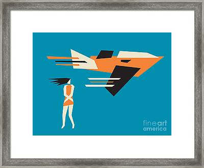 Girl And Airplane Framed Print by Igor Kislev