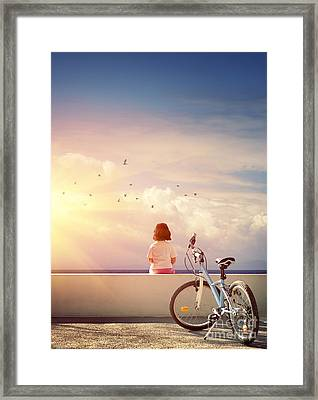 Girl And Bicycle Framed Print by Carlos Caetano