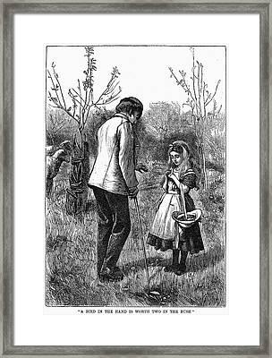 Girl And Bird, 1867 Framed Print