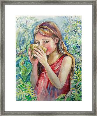 Girl And Coconut Framed Print