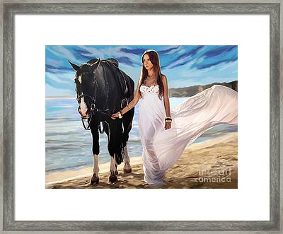 Framed Print featuring the painting Girl And Horse On Beach by Tim Gilliland