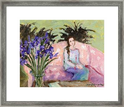 Girl And Iris Framed Print