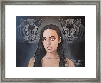Girl And Panther Framed Print