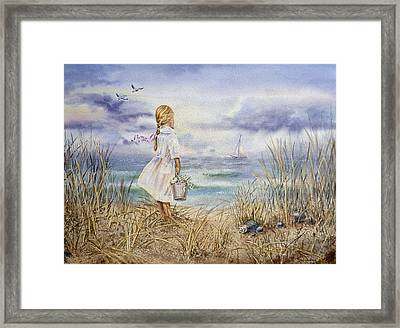 Girl At The Ocean Framed Print by Irina Sztukowski