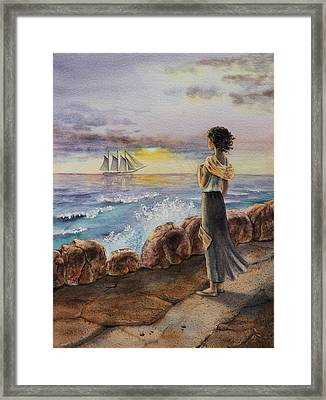 Girl And The Ocean Sailing Ship Framed Print