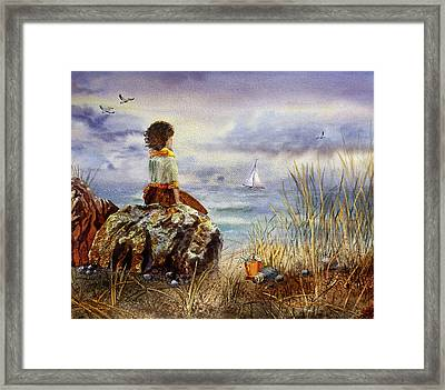 Girl And The Ocean Sitting On The Rock Framed Print
