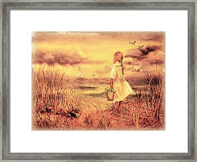 Girl And The Ocean Vintage Art Framed Print by Irina Sztukowski