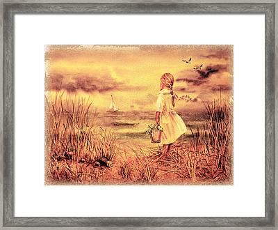 Girl And The Ocean Vintage Art Framed Print