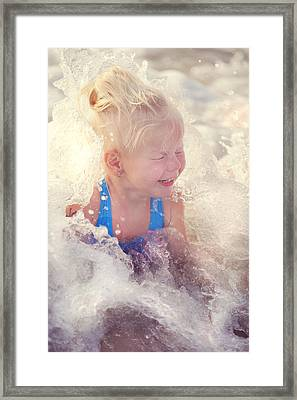 Girl And The Sea. Joy In Water Framed Print by Jenny Rainbow