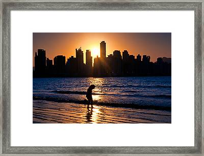 Girl And The Sunset Framed Print