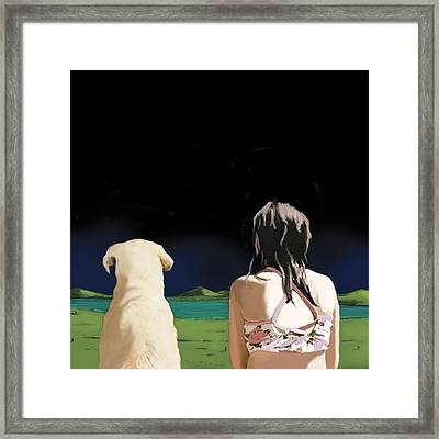 Girl And Yellow Lab Framed Print