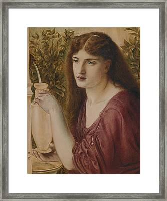 Girl At A Fountain Framed Print by Simeon Solomon