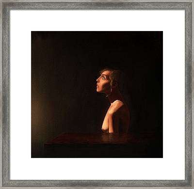 Girl At A Table Framed Print by Andrew Sandberg
