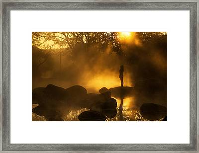 Girl At Hotspring Framed Print by Arthit Somsakul