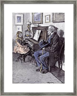 Girl At The Piano In 1891 Grandfather Old Man Hat Walking Framed Print by English School