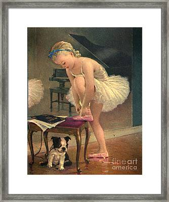 Girl Ballet Dancer Ties Her Slipper With Boston Terrier Dog Framed Print by Pierponit Bay Archives