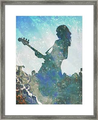 Framed Print featuring the digital art Girl Band Guitarist by John Fish