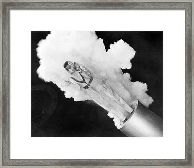 Girl Becomes Human Cannonball Framed Print by Underwood Archives