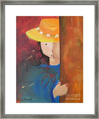 Framed Print featuring the painting Girl Behind The Door by Nereida Rodriguez