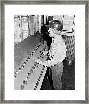 Girl Controls Loading Of Coal Into Cars Framed Print by Stocktrek Images