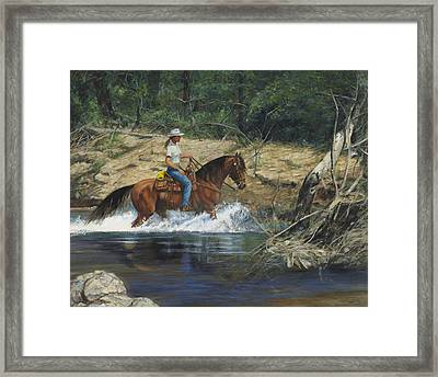 Girl Crossing Big Creek Framed Print by Don  Langeneckert