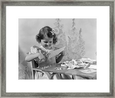 Girl Cutting Paper, C.1940s Framed Print