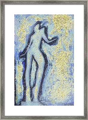Girl Dancing In Swirling Blues And Yellows An Analog Darkoom Photographic Print Painting Framed Print by Edward Olive