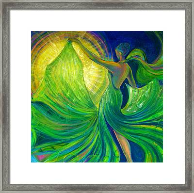 Girl Dancing With The Sun Framed Print