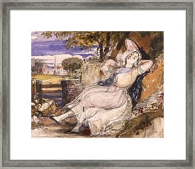 Girl Dreaming Framed Print by Richard Redgrave