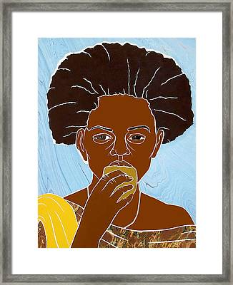 Girl Eating Mango Framed Print
