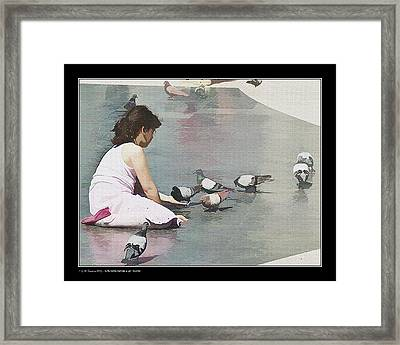 Framed Print featuring the photograph Girl Feeding Pigeons by Pedro L Gili