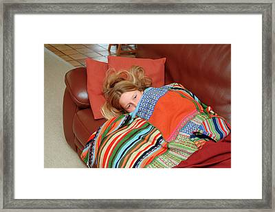 Girl Feeling Unwell Framed Print by Cc Studio/science Photo Library