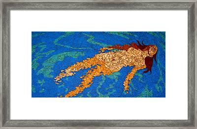 Girl Floating In Water Framed Print by Rachel Van der pol