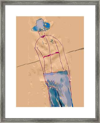 Girl From The Back Framed Print by Margie Lee
