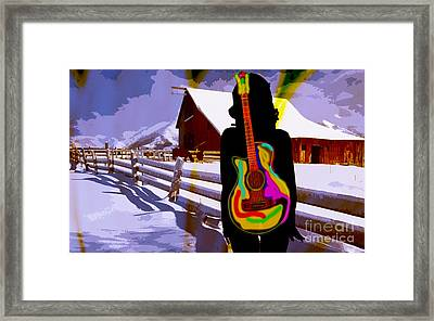 Girl Guitar And Ranch Framed Print