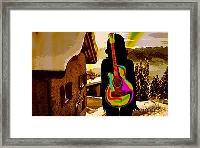 Girl Guitar Mountain Top Framed Print