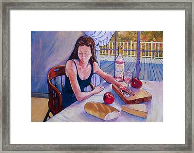 Girl Having Lunch At Montlake Framed Print