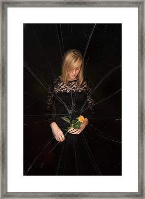 Girl Holding Rose Framed Print