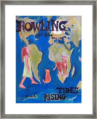 Girl Howling At The Moon And Rising Tides Framed Print by Betty Pieper
