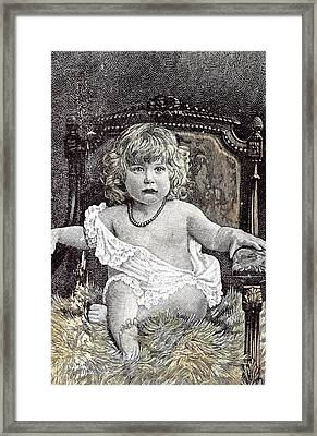 Girl In A Chair Hackney London 1892 Childhood At Home Framed Print