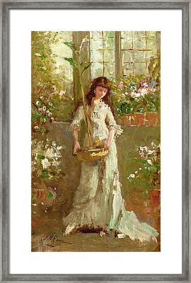 Girl In A Conservatory Framed Print by Alexander M Rossi