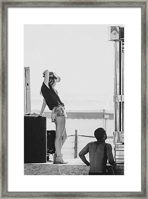 Girl In A Cowboy Hat Framed Print