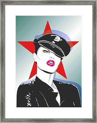 Girl In A Leather Cap Framed Print by Peter Bratt